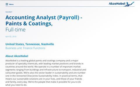 Screenshot of Jobs Page akzonobel.com - VACANCY - captured April 13, 2018