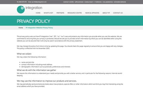 Screenshot of Privacy Page ipintegration.com - Website Privacy Policy | IP Integration - captured Sept. 30, 2014