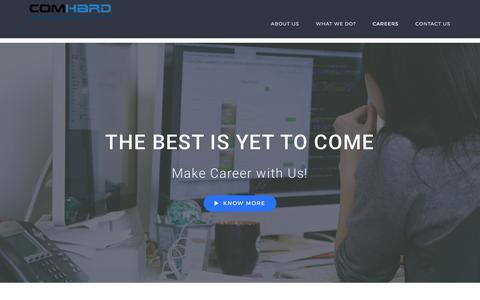 Screenshot of Jobs Page comhard.co.in - CAREERS - Comhard Technologies Pvt. Ltd. - captured Aug. 18, 2017