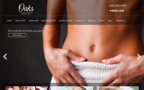 Screenshot of Home Page theoaksmedicalspa.com - Baton Rouge Plastic Surgery & Cosmetic Medical Spa | The Oaks at Goodwood Medical Spa - captured Oct. 5, 2015