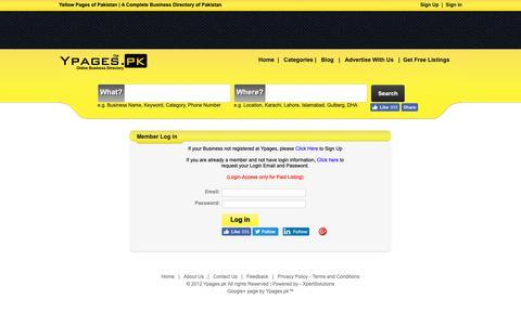 Screenshot of Login Page ypages.pk - Sign In | Business Login Centre | Member Login | Ypages.pk - captured Nov. 14, 2018
