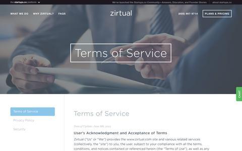 Screenshot of Terms Page zirtual.com - Zirtual - Terms of Service. - captured May 9, 2017