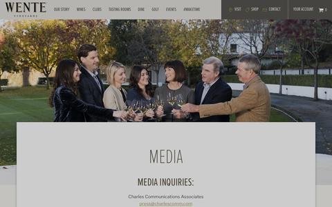 Screenshot of Press Page wentevineyards.com - Media | Wente Vineyards - captured June 12, 2019