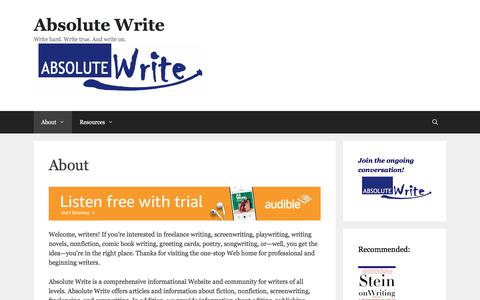 Screenshot of About Page absolutewrite.com - About | Absolute Write - captured Jan. 12, 2020