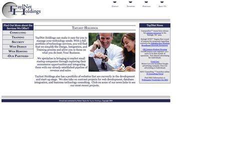 Screenshot of Home Page taylnet.com - TaylNet Holdings :: Technology Services, Consulting, Design, and Outsourcing - captured Oct. 10, 2014