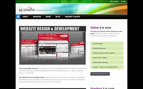 Screenshot of Services Page ag-creative.ca - ag-creative | Design & Communication: Graphic Design: Layouts, Logos, Branding, Print Materials, Website Design and Social Media Marketing Services - captured Sept. 30, 2014