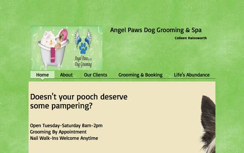 Screenshot of Home Page angelpawsdogspa.com - Angel Paws Dog Grooming - captured Oct. 4, 2014