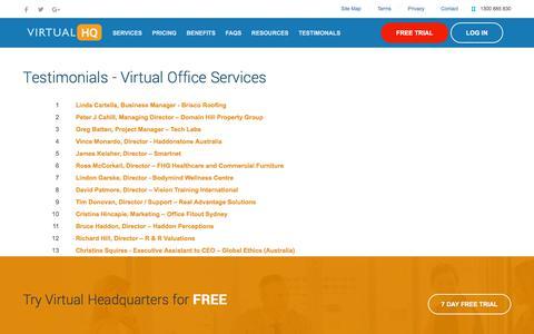 Screenshot of Testimonials Page virtualheadquarters.com.au - Testimonials - Virtual Office Services - captured Sept. 21, 2018
