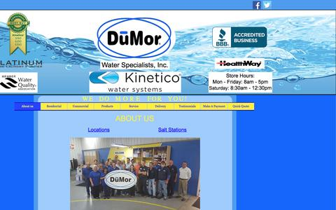 Screenshot of Home Page About Page Locations Page dumorwater.com - About us - captured Nov. 24, 2016
