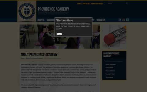 Screenshot of About Page providenceacademyva.org - About Providence Academy (About Providence Academy) - captured Feb. 2, 2016