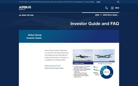Screenshot of FAQ Page airbusgroup.com - Airbus Group - Investor Guide and FAQ - captured March 29, 2016