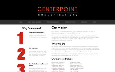 Screenshot of About Page centerpointcommunications.com - Low Voltage Contractor OC | Voice Data Cabling | Audio Visual Install - captured July 12, 2016