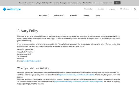 Screenshot of Privacy Page milestonesys.com - Privacy Policy - captured July 13, 2018