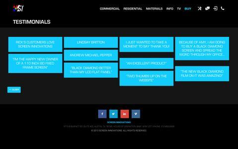 Screenshot of Testimonials Page screeninnovations.com - Testimonials Archives | Screen Innovations - captured Dec. 19, 2015