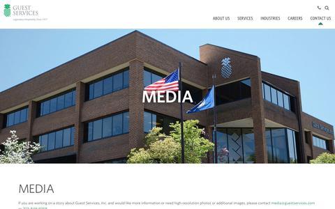 Screenshot of Press Page guestservices.com - Media - captured Sept. 30, 2018
