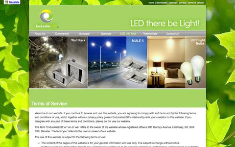 Screenshot of Terms Page enduraliteled.ca - terms of service | Enduralite :: High Efficiency Lighting - captured Sept. 30, 2014
