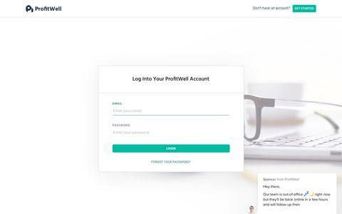 Screenshot of Login Page profitwell.com - ProfitWell - captured Nov. 23, 2019