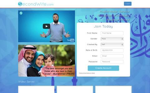 Screenshot of Home Page secondwife.com - Muslim Nikah Service - SecondWife.com - captured June 22, 2015