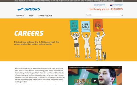 Screenshot of Jobs Page brooksrunning.com - Hello Careers Intro Text - captured May 30, 2016