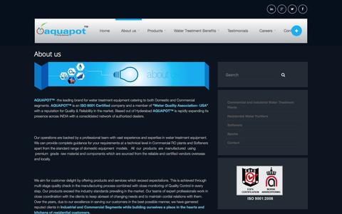 Screenshot of About Page aquapot.in - About us | AQUAPOT - captured Sept. 30, 2014