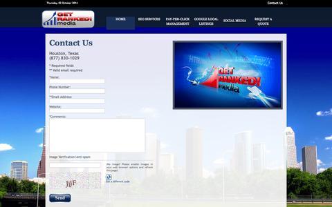 Screenshot of Contact Page getrankedmedia.com - Contact Us - Get Ranked Media - captured Oct. 2, 2014