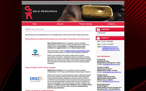 Screenshot of About Page soloresources.co.za - Wet Scrubbers, Air Scrubber, Scrubber, Grinding Mill, Vibrating Screen, Sparger, Ionex, Flotation Machine, Column Flotation Air Sparger - captured Oct. 7, 2014