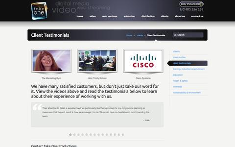 Screenshot of Testimonials Page takeoneproductions.co.uk - Take One Productions   Client Testimonials - captured Oct. 9, 2014