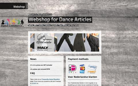 Screenshot of Home Page dance-commerce.eu - DancE'Commerce :: Webshop for dance articles - captured Sept. 30, 2014