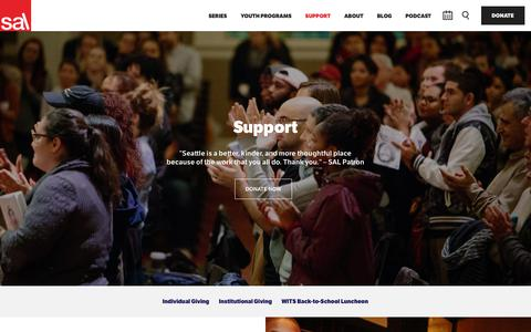 Screenshot of Support Page lectures.org - Seattle Arts & Lectures \ Support - captured Oct. 18, 2018