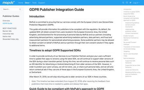 Screenshot of Developers Page mopub.com - GDPR Publisher Integration Guide | MoPub Marketplace | MoPub Developers - captured Nov. 16, 2018