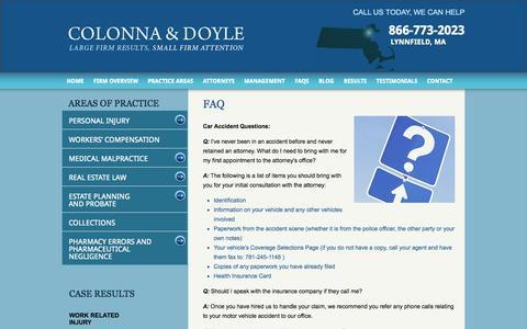 Screenshot of FAQ Page colonna-doyle.com - FAQs - Law Firm Colonna & Doyle Attorneys Saugus, Massachusetts - captured Oct. 3, 2014