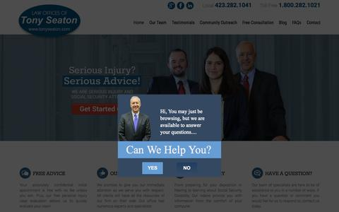 Screenshot of Home Page tonyseaton.com - Johnson City Personal Injury Attorneys | Disability Lawyers - captured Sept. 20, 2015