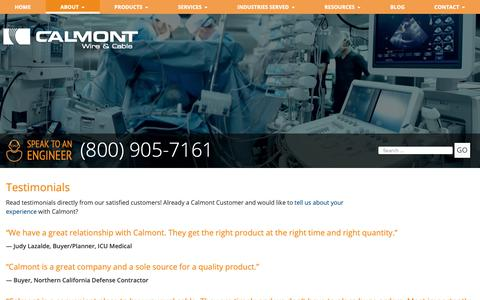 Screenshot of Testimonials Page calmont.com - Testimonials | Calmont Wire & Cable - captured Sept. 26, 2018