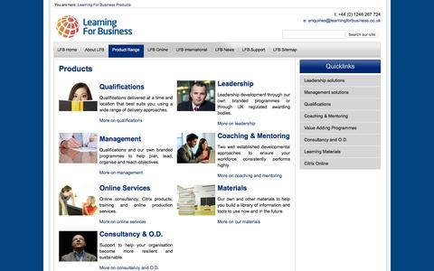 Screenshot of Products Page learningforbusiness.co.uk - An extensive range of solutions to help your organisation succeed - captured Jan. 27, 2016