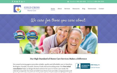 Screenshot of Home Page goldcrosshomecare.com - Hamilton Home Health Care Providers | Gold Cross Home Care - captured Jan. 31, 2016