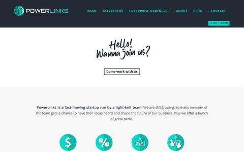 Screenshot of Jobs Page powerlinks.com - PowerLinks   Programmatic Native Advertising Server - captured Oct. 28, 2019