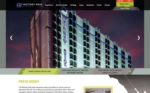 Screenshot of Press Page whitneypeakhotel.com - Luxury Boutique Hotel in Reno | Whitney Peak Hotel - Press Room - captured Nov. 2, 2014