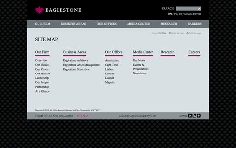 Screenshot of Site Map Page eaglestone.eu - Site Map - Eaglestone, financial advisory services, project finance, asset management and brokerage - captured Oct. 1, 2014