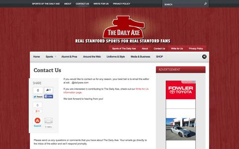Screenshot of Contact Page dailyaxe.com - Contact Us | The Daily Axe - captured Oct. 7, 2014