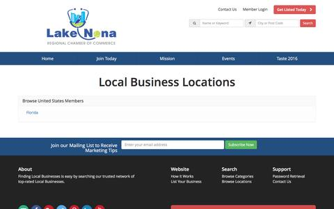 Screenshot of Locations Page lakenonacc.org - Find Local Businesses by Location - Lake Nona Regional Chamber of Commerce - captured Oct. 19, 2016