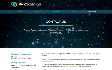 Screenshot of Contact Page secondgenome.com - Second Genome | Contact Us - captured Jan. 17, 2018