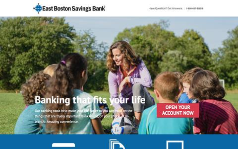 Screenshot of Landing Page ebsb.com - Online Banking & Checking from East Boston Savings Bank - captured Sept. 21, 2016