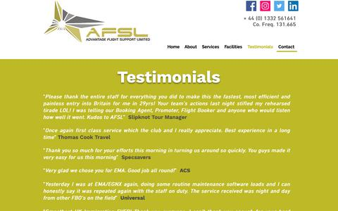 Screenshot of Testimonials Page fly-advantage.com - AFSL Testimonials | FBO | EMA | Advantage Flight Support - captured Oct. 3, 2018