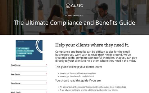 Screenshot of Landing Page gusto.com - Gusto - The Ultimate Guide to Benefits and Compliance - captured Oct. 2, 2016