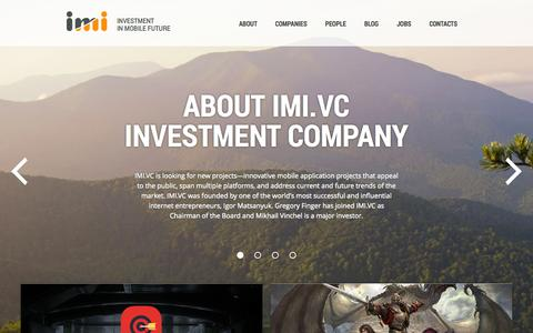 Screenshot of Home Page imi.vc - IMI.VC | Investing in mobile future - captured Sept. 19, 2014