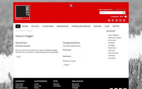 Screenshot of Login Page bestsportswear.nl - Account inloggen - captured Sept. 30, 2014