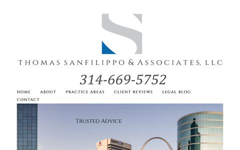 Screenshot of Home Page tsalawoffice.com - The Law Firm of Thomas SanFilippo & Associates, LLC - captured July 20, 2017