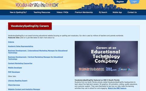 Screenshot of Jobs Page spellingcity.com - VocabularySpellingCity Careers   VocabularySpellingCity - captured Nov. 20, 2016