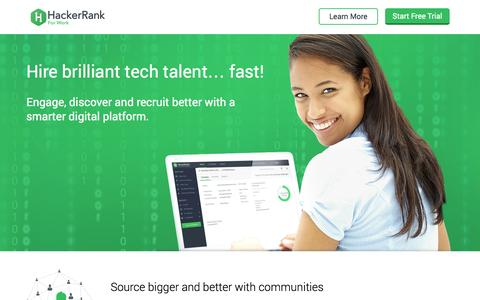 Screenshot of Landing Page hackerrank.com - Hire brilliant tech talent… fast! - captured Oct. 27, 2014