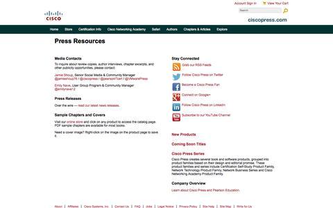 Screenshot of Press Page ciscopress.com - Press Resources - captured Sept. 19, 2014
